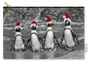 Penguins With Santa Claus Caps Carry-all Pouch