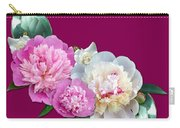 Peonies In Pink And Blue Carry-all Pouch