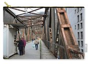People Crossing Old Yugoslav Weathered Metal Bridge Crossing In Bosnia Hercegovina Carry-all Pouch