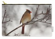 Perched Female Red Cardinal Carry-all Pouch