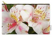 Peruvian Lilies  Flowers White And Pink Color Print Carry-all Pouch