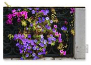 Petunias Through Wrought Iron Window Carry-all Pouch