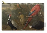 Pheasant Macaw Monkey Parrots And Tortoise  Carry-all Pouch