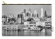 Philadelphia From The Waterfront In Black And White Carry-all Pouch