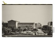 Philadelphia Museum Of Art And The Fairmount Waterworks From West River Drive In Black And White Carry-all Pouch