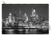 Philadelphia Philly Skyline At Night From East Black And White Bw Carry-all Pouch