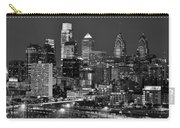 Philadelphia Skyline At Night Black And White Bw  Carry-all Pouch