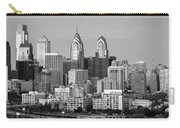 Philadelphia Skyline Black And White Bw Wide Pano Carry-all Pouch