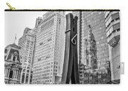 Philly Clothepin And City Hall Reflection In Black And White Carry-all Pouch
