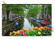Picturesque View Amsterdam Holland Canal Flowers Carry-all Pouch