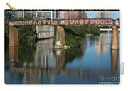 Picturesque View Of The Railroad Graffiti Bridge Over Lady Bird Lake As Canoes And Kayakers Paddle Under The Bridge On A Beautiful Summers Day Carry-all Pouch