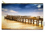 Pier At Sunset Oil Painting Photograph Carry-all Pouch