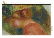 Pierre-auguste Renoir 1841-1919 Woman In Hat Carry-all Pouch