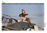 Pin-up Girl Sitting On The Wing Carry-all Pouch by Christian Kieffer