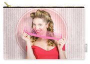 Pin Up Hairdresser Woman With Hair Salon Brush Carry-all Pouch