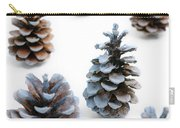 Pine Cones Looking Like Christmas Trees On White Snowy Backgroun Carry-all Pouch