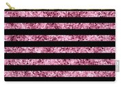 Pink And Black Glitter Sequin Stripes Carry-all Pouch