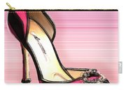 Pink And Black Stripe Shoe Carry-all Pouch