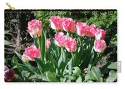 Pink And White Fringed Tulips Carry-all Pouch