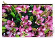 Pink And White Lilies Carry-all Pouch