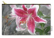 Pink And White Stargazer Lily In A Garden Carry-all Pouch