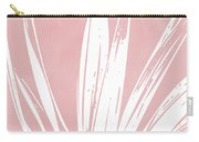 Pink And White Tropical Leaf- Art By Linda Woods Carry-all Pouch by Linda Woods