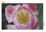 Pink And White Tulip Center Squared Carry-all Pouch