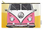 Pink And White Volkswagen T 1 Samba Bus On Yellow Carry-all Pouch by Serge Averbukh