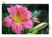 Pink And Yellow Lily After Rain Carry-all Pouch