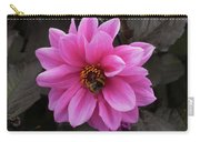 Pink Dahlias With Bees Carry-all Pouch