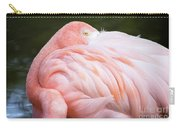 Pink Flamingo Hiding Its Head On Its Plumage. Carry-all Pouch