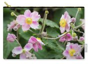 Pink Flowers Over Green Carry-all Pouch