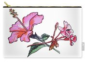 Pink Hibiscus And Geranium  Carry-all Pouch