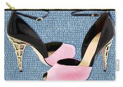 Pink Patent Leather With Sculpted Metal Heels Carry-all Pouch