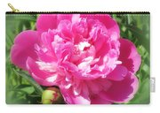 Pink Peony On Green Carry-all Pouch