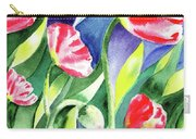 Pink Poppies Batik Style Carry-all Pouch