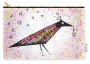 Pink Raven With Heart Carry-all Pouch