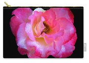 Pink Rose On Black 3 Carry-all Pouch