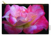 Pink Rose On Black 4 Carry-all Pouch