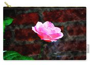 Pink Rose On Red Brick Wall Carry-all Pouch