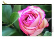 Pink Rose With Leaves Carry-all Pouch