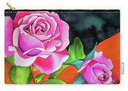 Pink Roses With Orange Carry-all Pouch