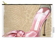 Pink Satin Ankle Straps On Safari Carry-all Pouch