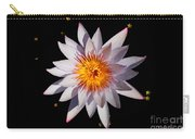 Pink Tipped Water Lily On Black Carry-all Pouch