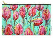 Pink Tulip, Turquoise Carry-all Pouch