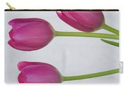 Pink Tulips And White Brick Wall Carry-all Pouch