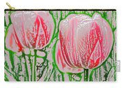 Pink Tulips With Block Effect Carry-all Pouch