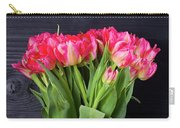 Pink Tulips On Black Carry-all Pouch