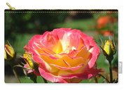 Pink Yellow Roses 3 Summer Rose Garden Giclee Art Prints Baslee Troutman Carry-all Pouch