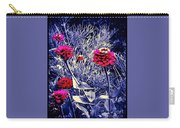 Pink Zinnia's Against A Silver Background Carry-all Pouch